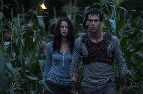 Kaya Scodelario and Dylan O'Brien in The Maze Runner