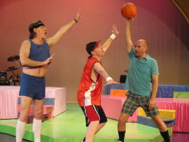 Paul Gregory Nelson, Tom Walljasper, and Brad Hauskins in Mid-Life! The Crisis Musical