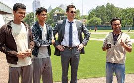 Madhur Mittal, Suraj Sharma, Jon Hamm, and Pitobash in Million Dollar Arm