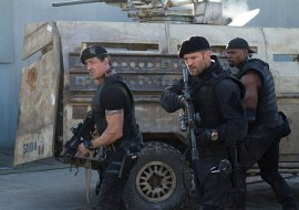 Sylvester Stallone, Jason Statham, and Terry Crews in The Expendables 2