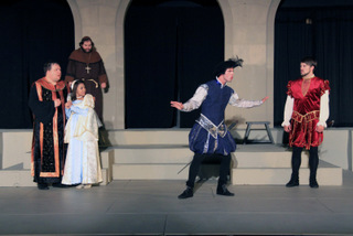 Jason Dlouhy, Chelsea Ward, Doug Adkins, Travis Meier, and Tyler Henning in Much Ado About Nothing