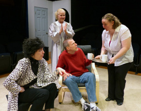 Jackie Patterson, Stacy Herrick, Don Faust, and Sara Laufer in Murder on the Rerun