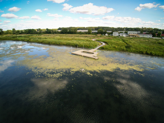 An aerial view of Nahant Marsh and its education center. Photo by Connor Woollums.