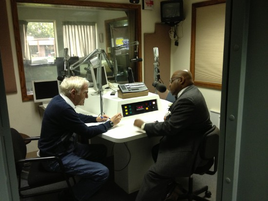 Jonathan Narcisse with WOC talk-show host Jim Fisher in September