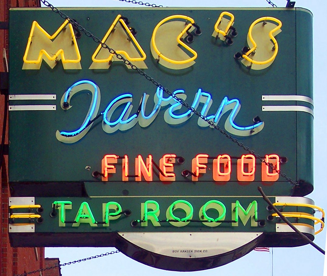 The Mac's Tavern sign. Photo by Bruce Walters.
