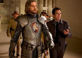 Robin Williams, Dan Stevens, and Ben Stiller in Night at the Museum: Secret of the Tomb