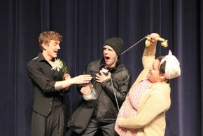 Jackson Green, Jordan Webster-Moore, and  Becca Brazel in Noises Off