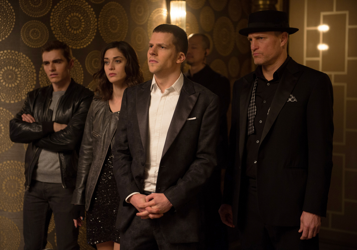 Dave Franco, Lizzy Caplan, Jesse Eisenberg, and Woody Harrelson in Now You See Me 2
