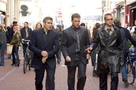George Clooney, Matt Damon, and Brad Pitt in Ocean's Twelve