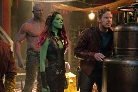 Dave Bautista, Zoe Saldana, and Chris Pine in Guardians of the Galaxy