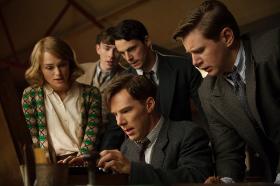 Keira Knightly, Matthew Beard, Benedict Cumberbatch, Matthew Goode, and Allen Leech in The Imitation Game