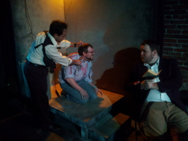 Jason Platt, Dexter Brigham, and Matt Mercer in The Pillowman