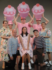 Magdalyn Donnelly, Andrea Moore, Brad Hauskins, Jeremy Plyburn, Kelly Anna Lohrenz, James Bleecker, Tristan Layne Tapscott, and Hannah Bates in Pinkalicious