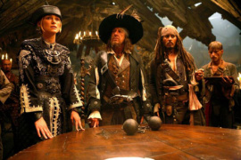 Keira Knightley, Geoffrey Rush, Johnny Depp, and Mackenzie Crook in Pirates of the Caribbean: At World's End