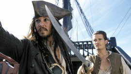 Johnny Depp and Orlando Bloom in Pirates of the Caribbean: The Curse of the Black Pearl