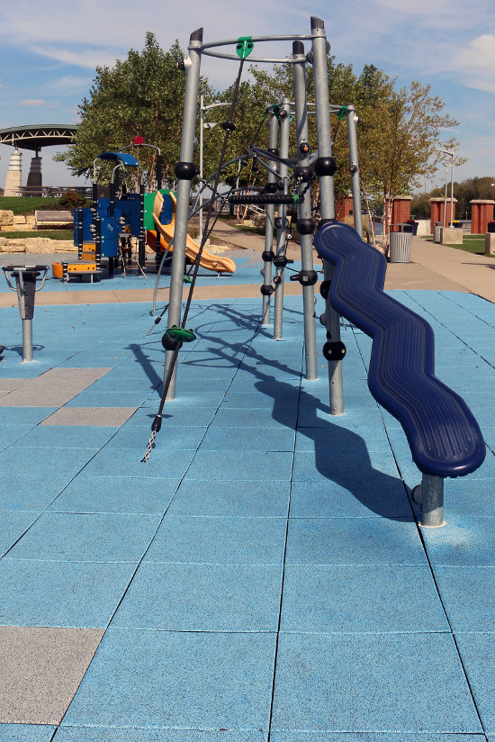 The play equipment at Schwiebert Riverfront Park. Photo by Bruce Walters.