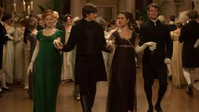 Aisling Loftus, Sam Riley, Lily James, and Matt Smith in Pride & Prejudice & Zombies