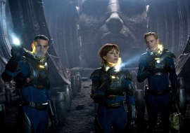 Logan Marshall-Green, Noopi Rapace, and Michael Fassbender in Prometheus