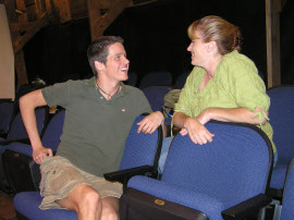 Bryan Tank and Angela Rathman in Rabbit Hole rehearsals