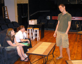 Jessica Nicol, Denise Yoder, and Bryan Tank in Rabbit Hole rehearsals