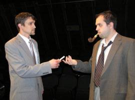 Jordan Smith and Joshua Kahn in Rehearsal for Murder