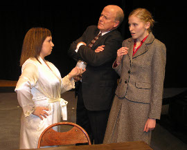 Nicole Layer, Greg Bouljon, and Sarah Ade in Rehearsal for Murder