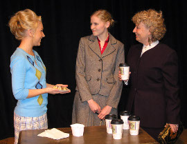 Carli Talbot, Sarah Ade, and Liz Blackwell in Rehearsal for Murder