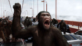 Andy Serkis(ish) and James Franco in Rise of the Planet of the Apes