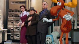 Rene Russo, Jason Alexander, Robert De Niro, Rocky, and Bullwinkle in The Adventures of Rocky & Bullwinkle