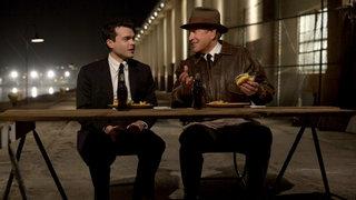 Alden Ehrenreich and Warren Beatty in Rules Don't Apply