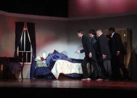 Bill Ingersoll, Adam Overberg, Bill Peiffer, and Andrew Cole in The Tragedy of Sarah Klein