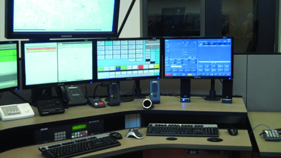 Emergency-response dispatching console, located inside the Scott Emergency Communications Center building at 1100 East 46th Street in Davenport.