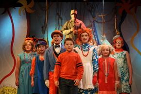 Derrick Bertram, Joseph Brune, Kate Struble (center) and ensemble members in Seussical