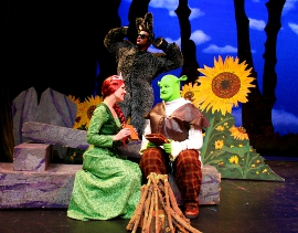 Melissa Anderson Clark, Matthew McFate, and Brian Peterson in Shrek: The Musical