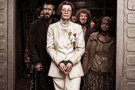 Chris Evans, Tilda Swinton Ewen Bremner, and Octavia Spencer in Snowpiercer