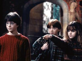 Daniel Radcliffe, Rupert Grint, and Emma Watson in Harry Potter & the Sorcerer's Stone