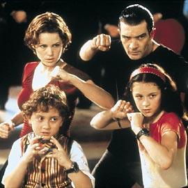(clockwise from top left) Carla Gugino, Antonio Banderas, Alexa Vega, and Daryl Sabata in Spy Kids