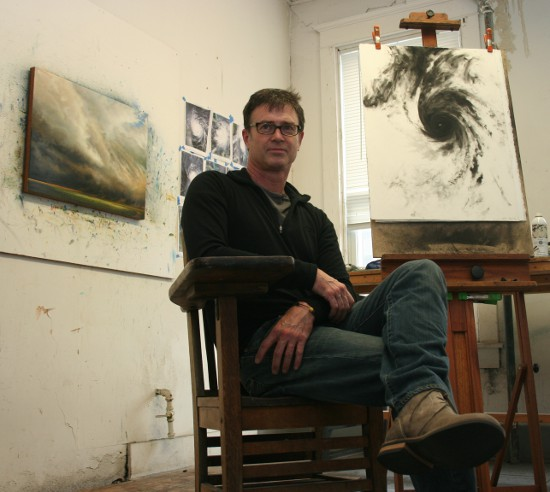 Drew Starenko in his downtown-Davenport studio.