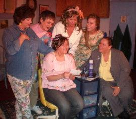 Angela Elliott, Dee Canfield, Colleen Winters, Pamela Crouch, Kelly Lohrenz, and Lisa Kahn in Steel Magnolias