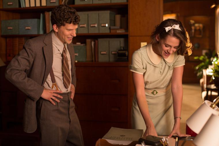 Jesse Eisenberg and Kristen Stewart in Cafe Society