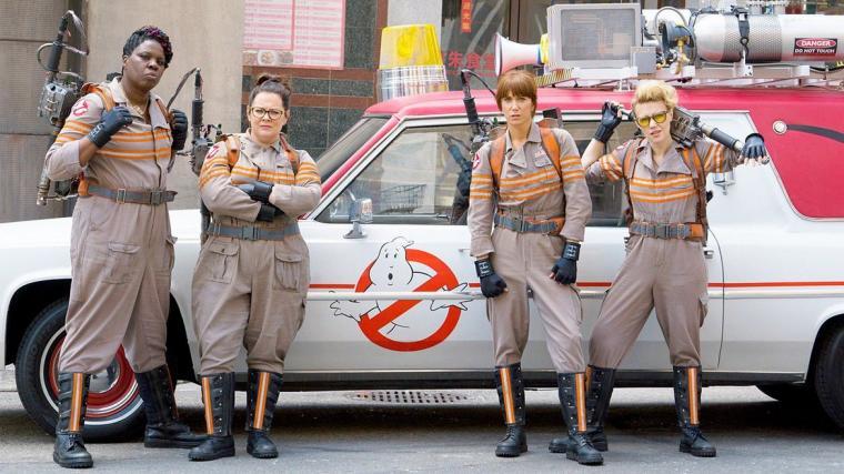 Leslie Jones, Melissa McCarthy, Kristen Wiig, and Kate McKinnon in Ghostbusters
