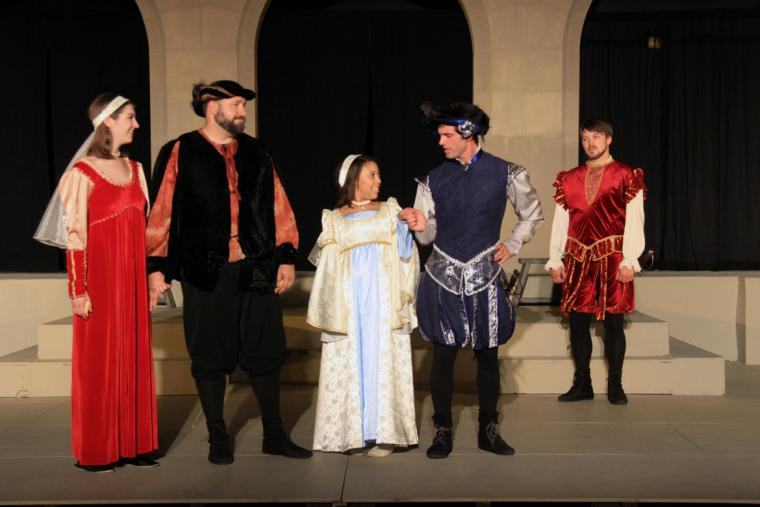 Lis Athas, Jeremy Mahr, Chelsea Ward, Travis Meier, and Tyler Henning in Much Ado About Nothing