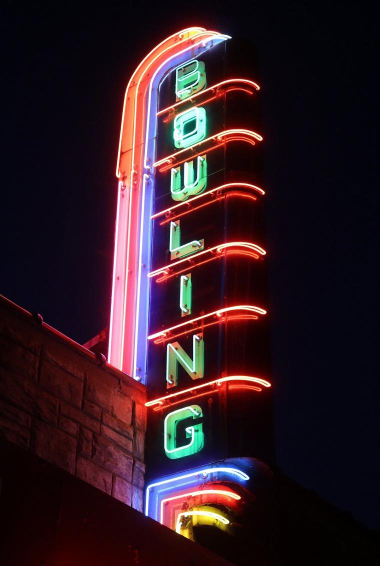 The neon sign at Bowlmor. Photo by Bruce Walters.