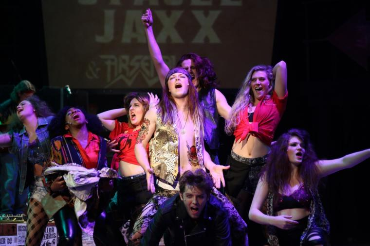 Kieran McCabe and the Rock of Ages cast
