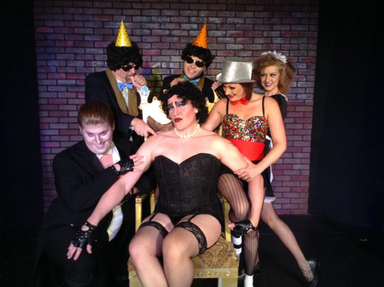Nicholas Munson, Don Abbott, Dion Stover, Vince Solis, Sara Tubbs, and Becca Meumann-Johnson in The Rocky Horror Show