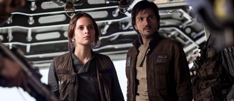 Felicity Jones and Diego Luna in <em>Rogue One: A Star Wars Story</em>