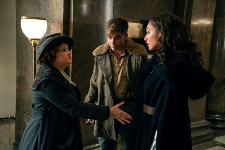 Lucy Davis, Chris Pine, and Gal Gadot in Wonder Woman