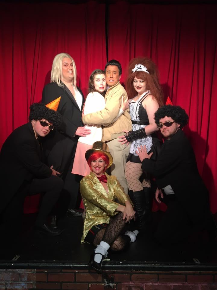 Max Moline, Nicholas Munson, Joanna Brewer, Tommy Ratkiewicz-Stierwalt, Sunshine Ramsey, Kathryn Jecklin, and Aaron Johnson in The Rocky Horror Show