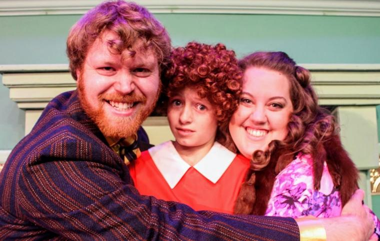 Ian Sodawasser, Emily Winn, and Kailey Ackermann in Annie