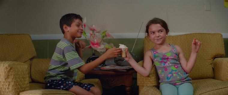 Christopher Rivera and Brooklynn Prince in The Florida Project